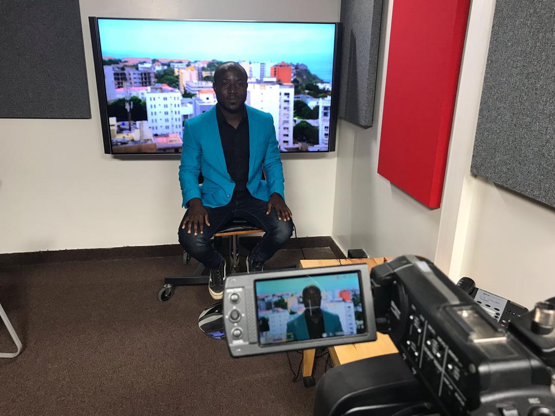 Gaius Kowene at BBC studio in Dakar Senegal